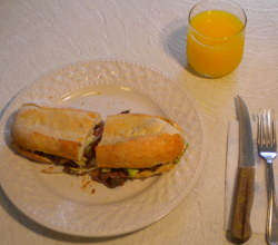 This is a picture of the finished Mexican torta sandwich made from the recipe on this page.